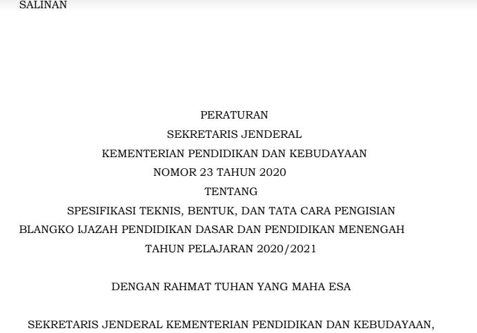 Juknis Penulisan Ijazah 2021 & contoh Blangko Ijazah Tahun 2020/2021