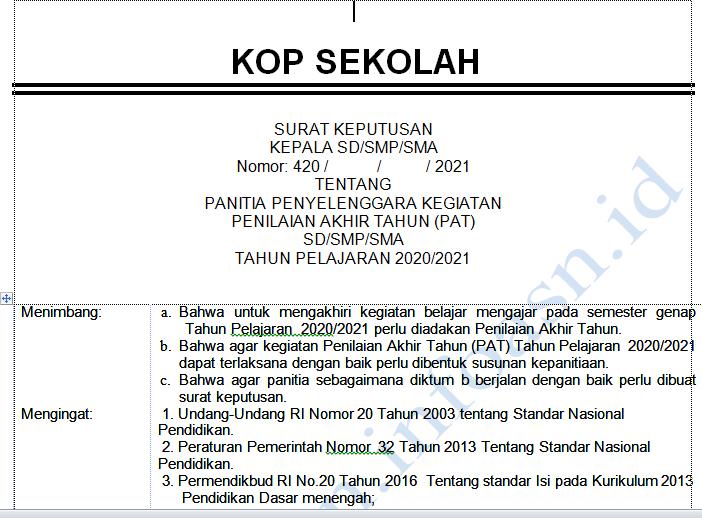 SK Panitia PAT 2021 Format Word