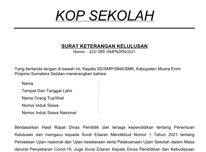 surat keterangan lulus (SKL) Tahun 2021 Jenjang SD SMP SMA SMK