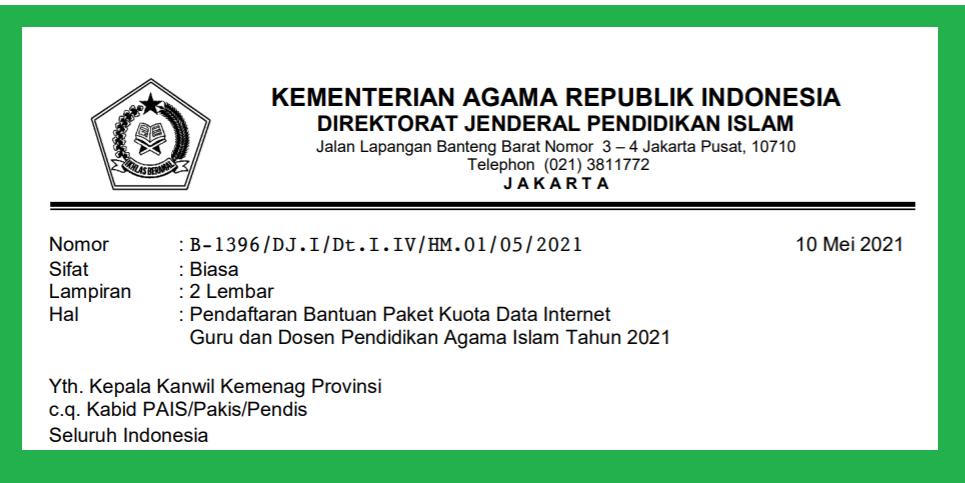 Pendaftaran Bantuan Kuota Data Internet Guru dan Dosen Pendidikan Agama Islam Tahun 2021