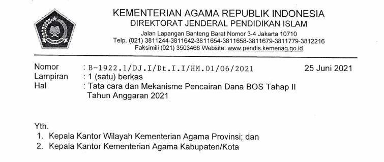 Mekanisme Pencairan Dana BOS Tahap 2 Kemenag Tahun 2021