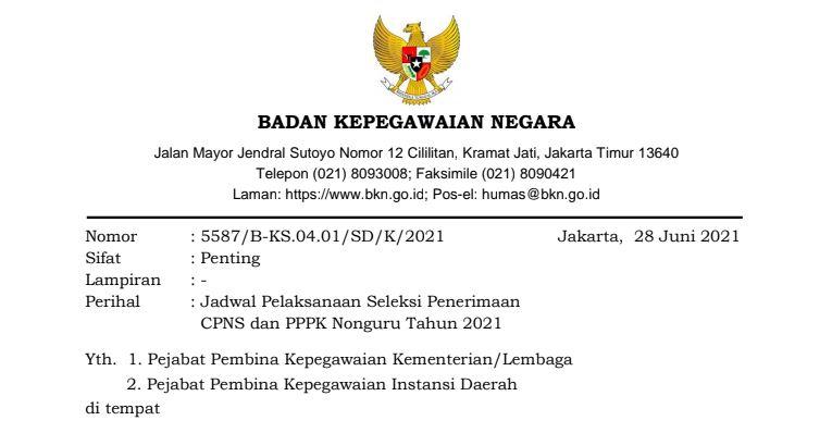 Jadwal Seleksi CPNS & PPPK Nonguru Tahun 2021