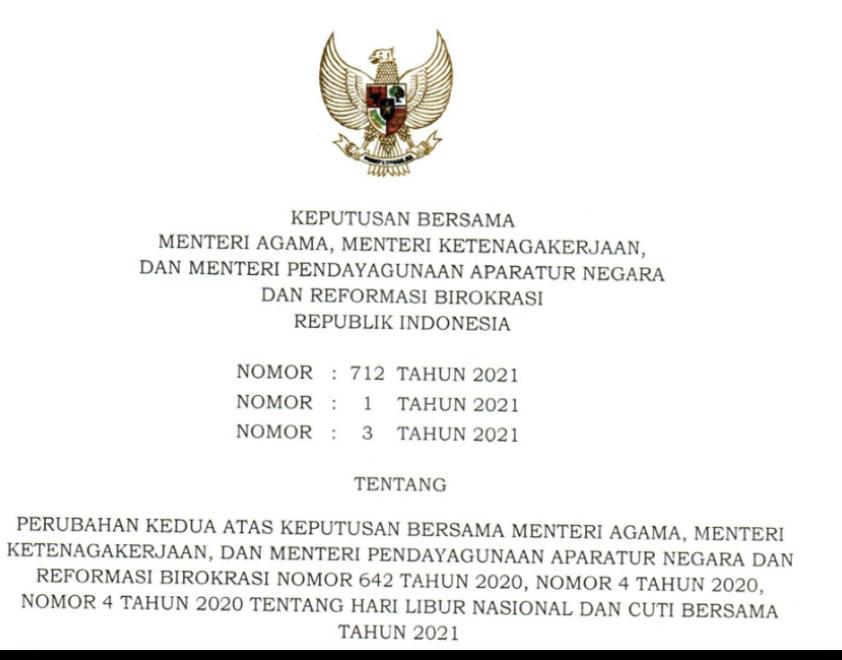 Perubahan Hari Libur Nasional dan Cuti Bersama Tahun 2021