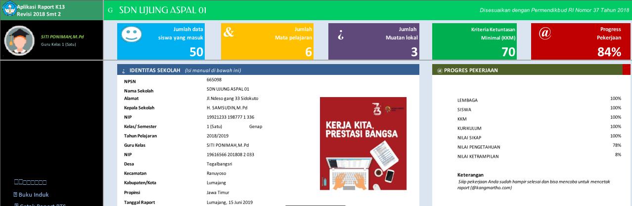 Aplikasi Raport k13 kelas 1 Semester genap 2021