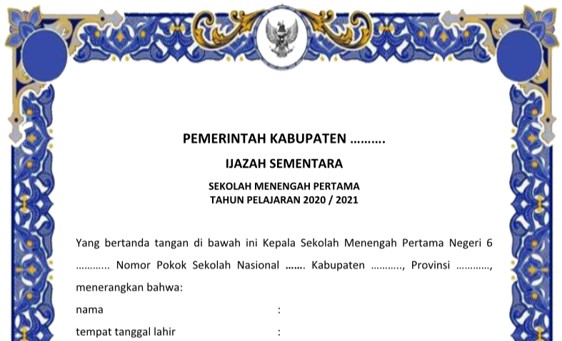 Download Bingkai Blangko Ijazah SD SMP SMA Tahun 2021