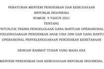 Juknis BOP PAUD Tahun 2021 PERMENDIKBUD Nomor 9 Tahun 2021