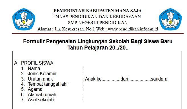 Formulir MPLS Tahun 2021/2022