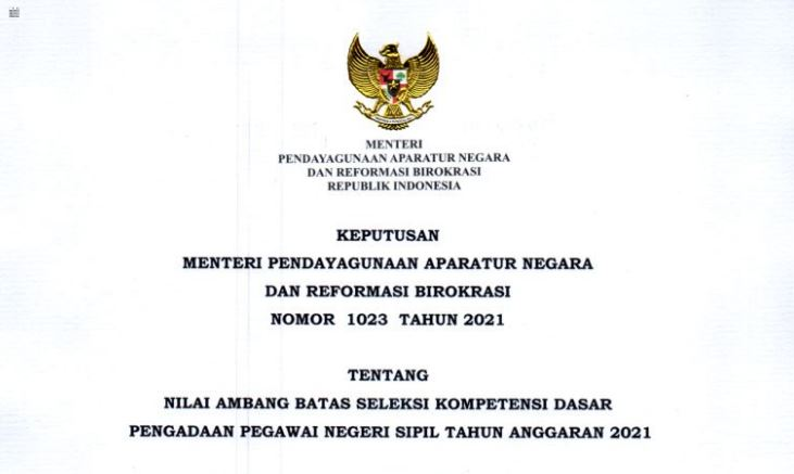 Passing Grade Atau Nilai Ambang Batas Kelulusan SKD CPNS Tahun 2021 Berdasarkan KEPMENPANRB Nomor 1023 Tahun 2021