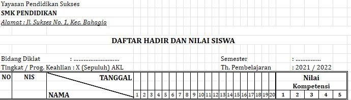 Format Daftar Hadir SD, SMP, SMA & SMK 2021/2022