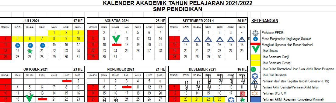 Kalender Pendidikan 2021/2022 Format Excel
