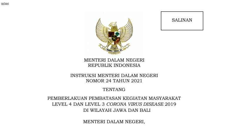 Instruksi Mendagri Nomor 24 Tahun 2021 Tunda PTM Terbatas Di Wilayah PPKM Level 4 Dan Level 3 Jawa Dan Bali