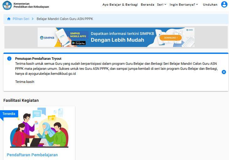 Cara Daftar Tryout PPPK Guru SMK Melalui Portal Seri Belajar Calon Guru ASN PPPK 2021