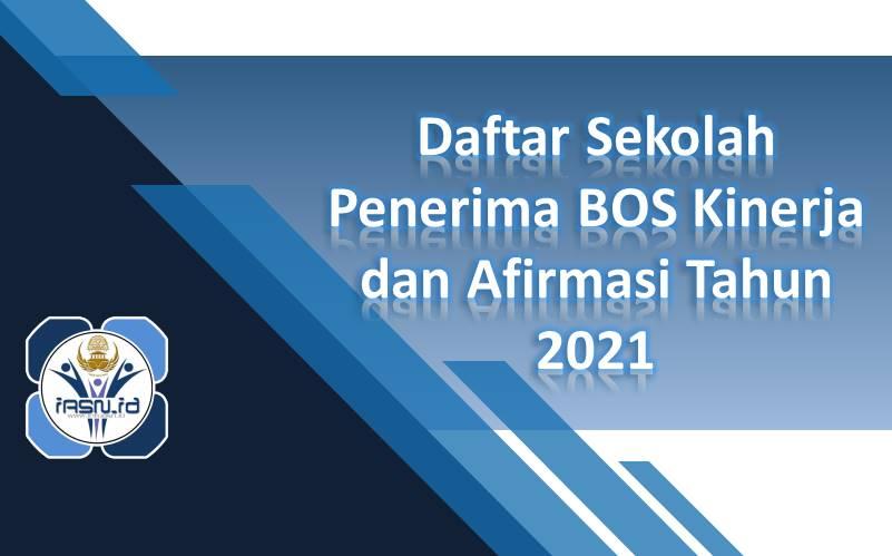 Daftar Sekolah Penerima BOS Kinerja dan Afirmasi Tahun 2021